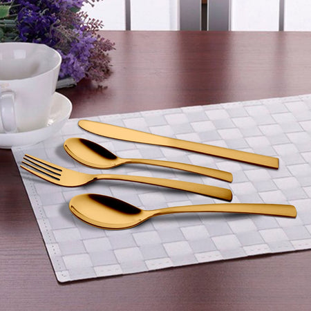 24 PCS Gold Cutlery Set with PVD Coating - GSW Plain
