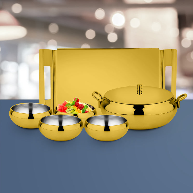 Gold Serving Set with PVD Coating - Farm House
