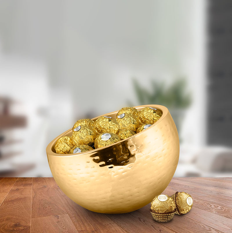 Gold Hammered Double Wall Candy Bowl - Optic