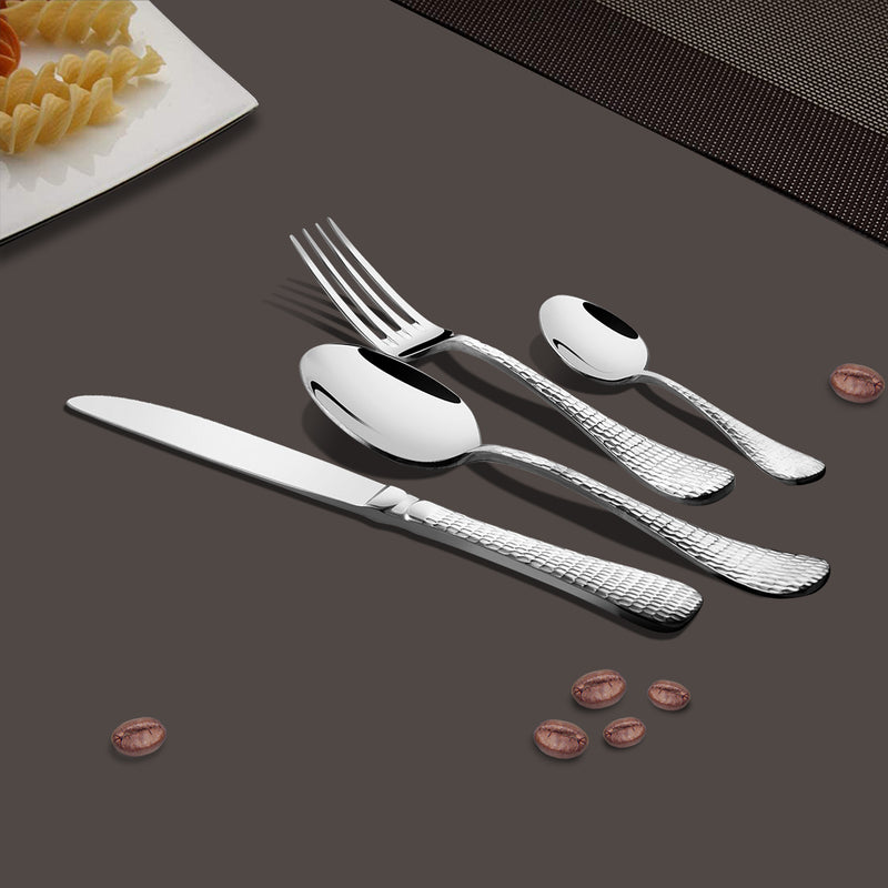 24 PCS Cutlery Set - New Rosemary Hammered