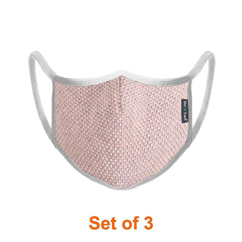 Reusable 2-Layers Cotton Dana Design Face Mask - Pink and White - Set of 3
