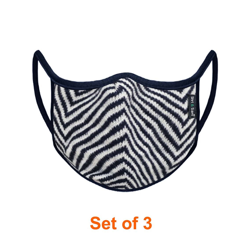 Reusable 2-Layers Cotton Diagonal Strip Design Face Mask - Navy Blue and white - Set of 3