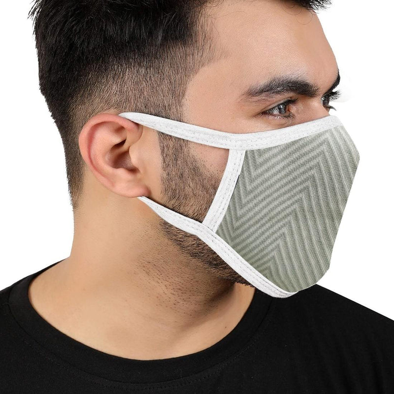 Reusable 2-Layers Cotton Diagonal Strip Design Face Mask - White and Green - Set of 3