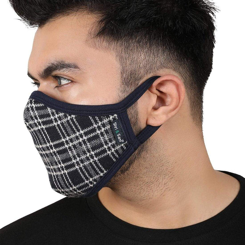 Reusable 2-Layers Cotton Face Mask - Light Grey Melange and Black - Set of 3