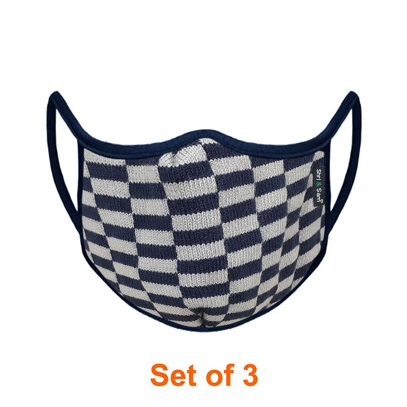 Reusable 2-Layers Cotton Multi Color Box Design Face Mask - Blue and White- Set of 3
