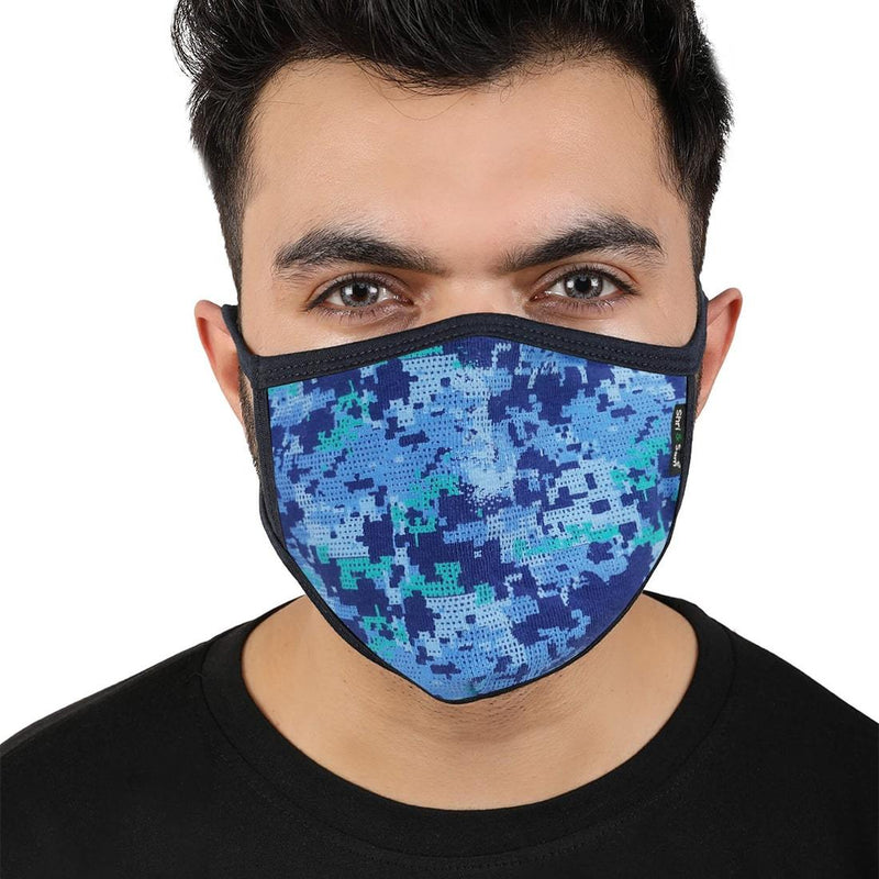 Reusable 2-Layers Cotton Printed Design Face Mask - Blue - Set of 3