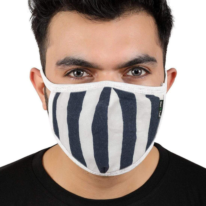 Reusable 2-Layers Cotton Strip Design Face Mask - Blue and White - Set of 3