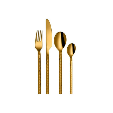 Jagdamba Cutlery Pvt Ltd. Cutlery 24 PCS Gold Cutlery Set -  Bamboo Hammered