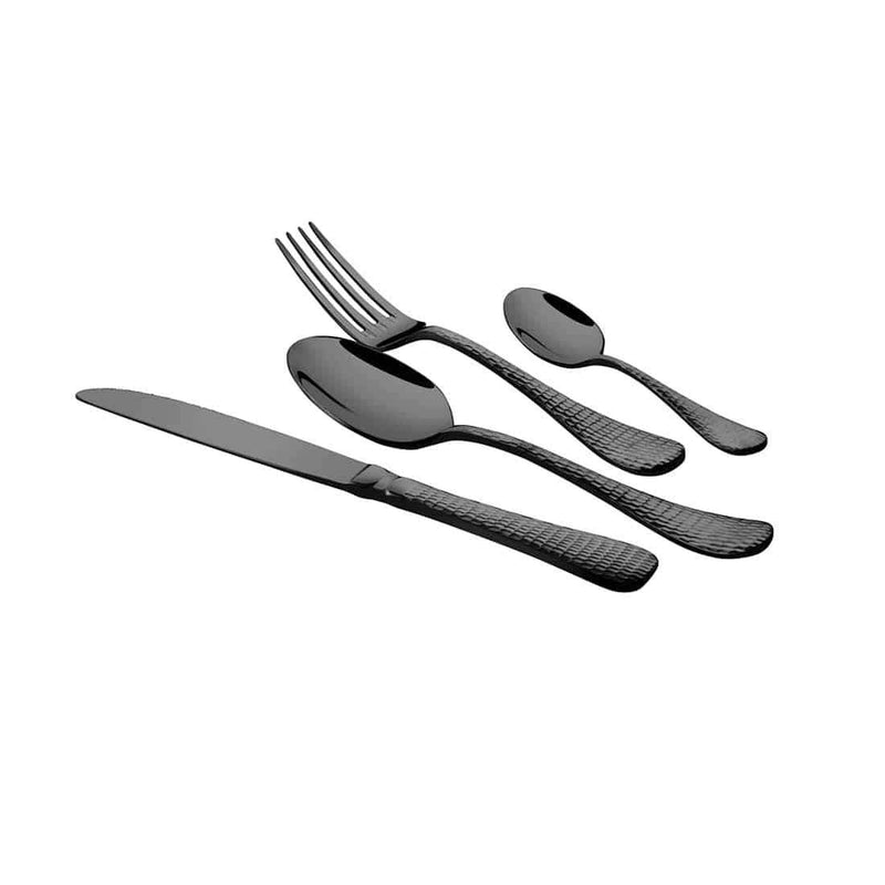 Jagdamba Cutlery Pvt Ltd. Cutlery 4 PCS Titanium Cutlery Set with PVD Coating - New Rosemary Hammered