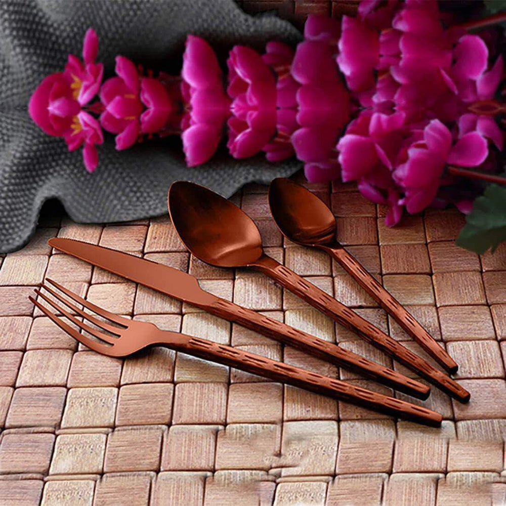 Jagdamba Cutlery Pvt Ltd. Cutlery Brown 24 PCS Cutlery Set with PVD Coating - Rod Rice Hammered - Hand Crafted