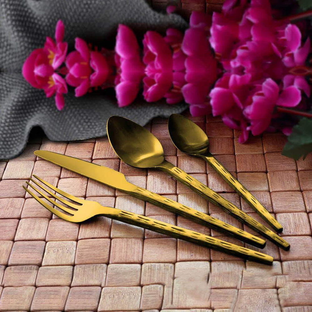 Jagdamba Cutlery Pvt Ltd. Cutlery Gold 24 PCS Cutlery Set with PVD Coating - Rod Rice Hammered - Hand Crafted