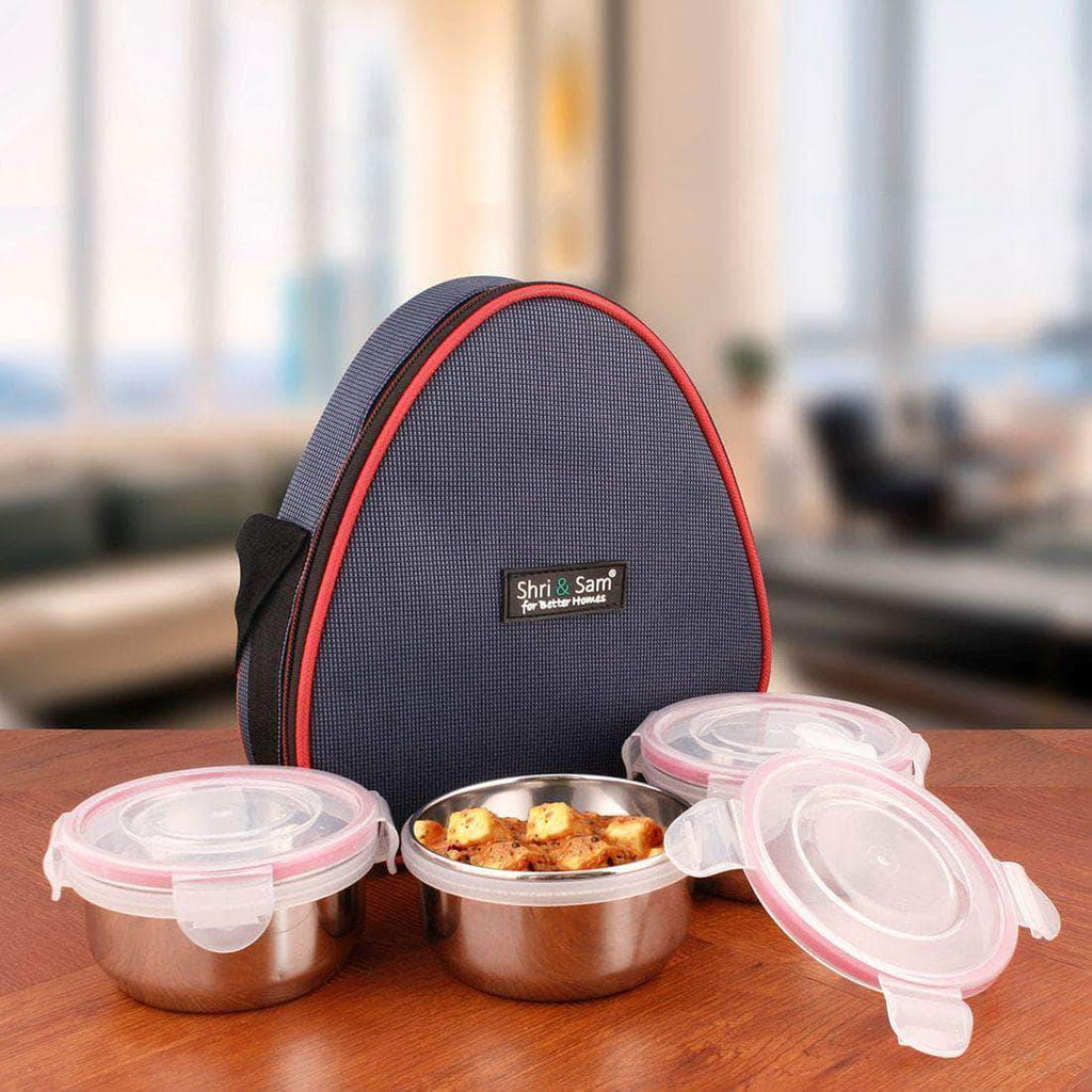 Jagdamba Cutlery Pvt Ltd. Daily Needs Stainless Steel Lunch Box Set with Bag