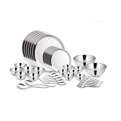 Jagdamba Cutlery Pvt Ltd. Dinner Set 40 PCS Double Wall Hammered Dinner Set (6 People) - Budget