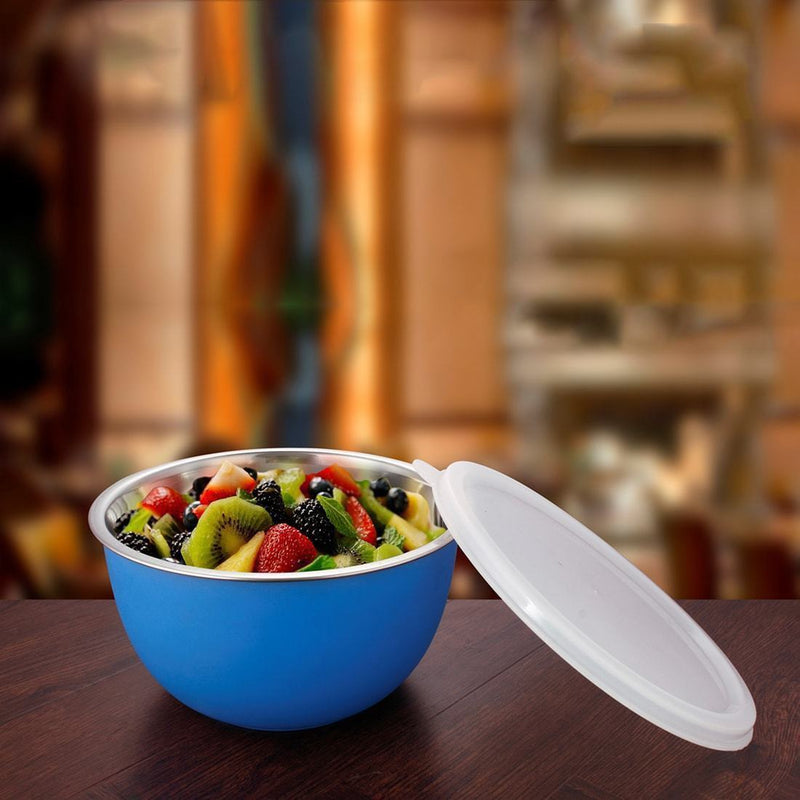 Jagdamba Cutlery Pvt Ltd. Serveware Bowl with Plastic Lid - Blue - Euro