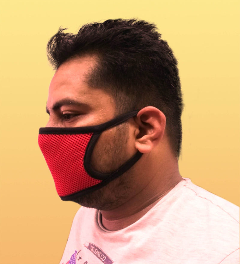 Reusable 2-Layers Face Mask - Net Red and Black