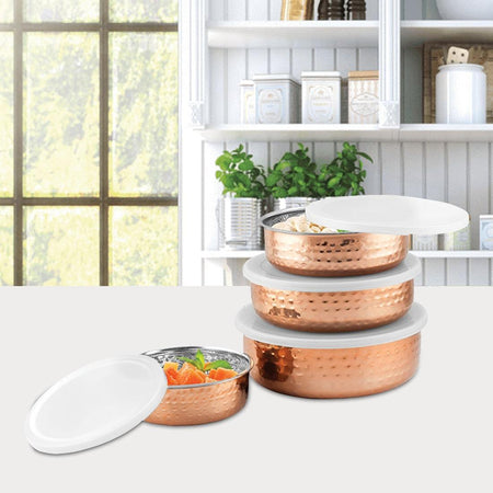 JAGDAMBA CUTLERY LIMITED serveware 4 PCS Hammered Lid Bowl with Copper color coated - Madrid
