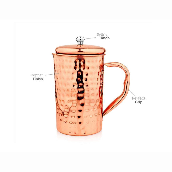 JAGDAMBA CUTLERY LIMITED Serveware Tamaram Copper Jug with 2 Glasses - Hammered