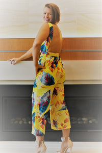 Yellow Print Jumpsuits