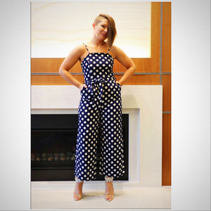 Navy Poka-Dot Jumpsuit