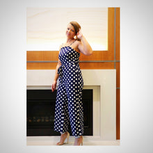 show up for lunch in style with your girls in this navy blue polka dit jumpsuit
