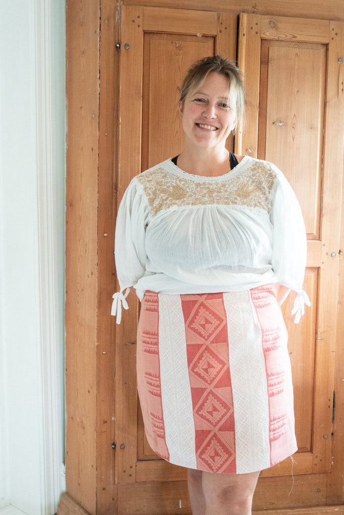 Merete in her lovely Sigrid skirt made from an old table cloth.