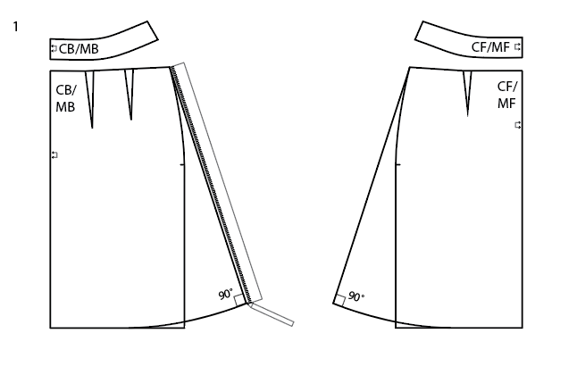 Turn the Sigrid pencil skirt into a simple A-line skirt with darts.