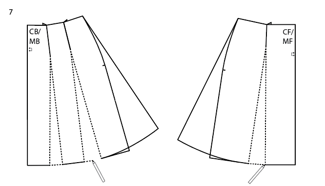Drawing the bottom hem of an A-line skirt pattern.