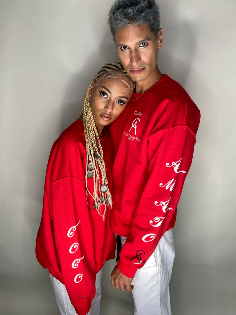 his and hers coco-cola red crew neck sweatshirt with white logo graphics on both arms and front left chest