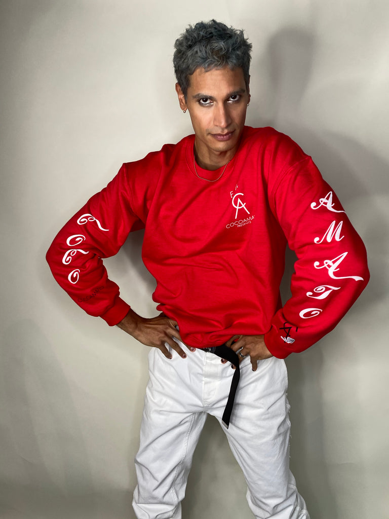 unisex coco-cola red sweatshirt with white logo graphics on arms and front left chest