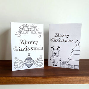 Colour-in Christmas Card Printable