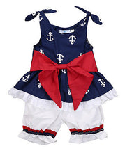 3 Pc Anchor Tank Top, Shorts & Bow