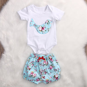 Infant 2 Piece Body Suit and Bloomers with Bluebird and Victorian Flower Motif