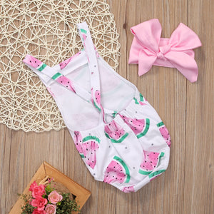 2 Pc Watermelon Jumpsuit & Bow