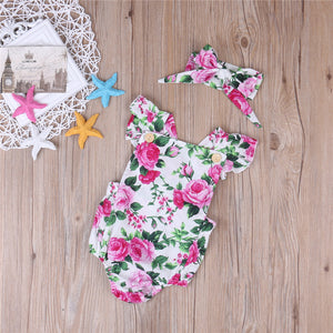 Bright Pink and White Floral Romper & Bow