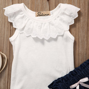 2 Pc White Eyelet Tank Top with Denim Bloomers