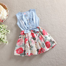 Denim Floral Ruffle Dress