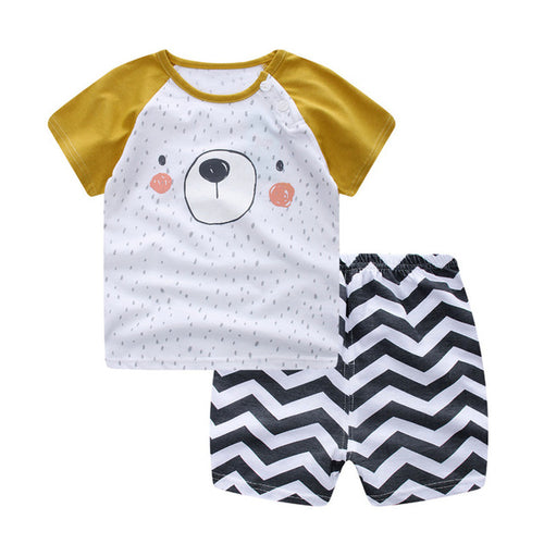 2 Pc Bear Shirt & Striped Shorts