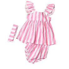3 piece Striped Dress Outfit with matching headband and bloomers, 2 colors