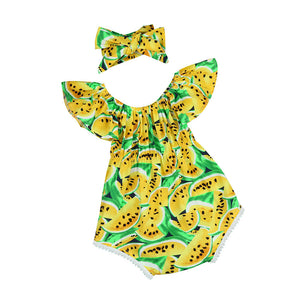 Off the Shoulder Caribbean Fruit Printed Romper and Headband set