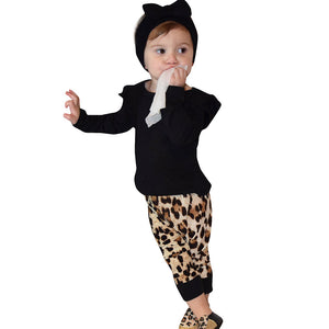 Leopard Long Sleeve Top with Coordinating Pants 2 pc set