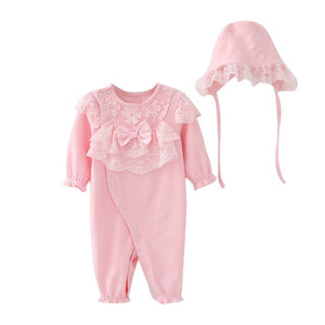 Darling Lace Cap and Ruffled Jumpsuit 2 pc set