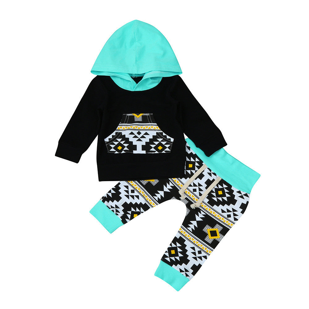 2pcs Geometric Hoodie Tops+Pants Outfit
