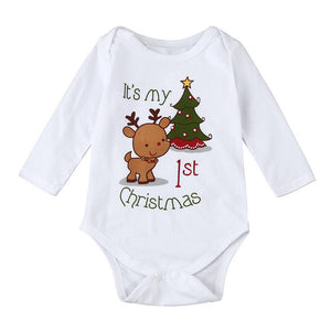"""It's my 1st Christmas"" long sleeve onesie"