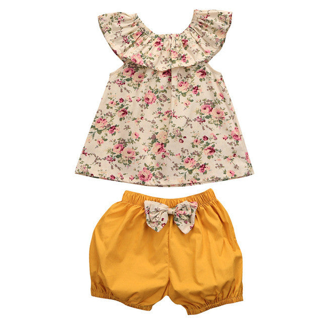 2 pc Summer Floral Sleevless Ruffled Top with Shorts Set