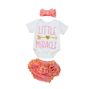 """Little Miracle"" 3pc set with Onesie, Bloomers and headband"
