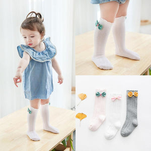 Spring/Autumn 1 Pairs Cotton rainbow Medium Solid Socks for Baby Girls Toddler Kids baby Clothing Warmers Leg Socks