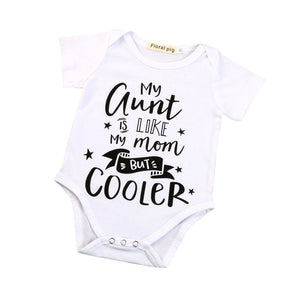 """my aunt is like my mom but cooler"" short sleeve onesie"