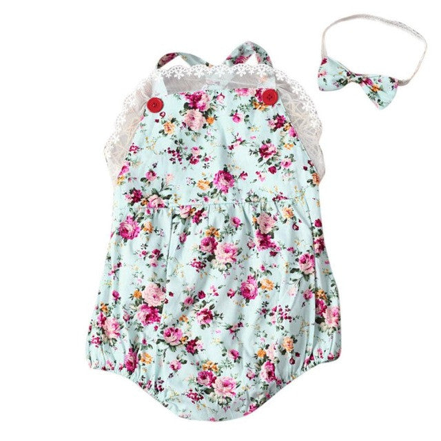 Rose Floral Printed Baby Romper with Headband