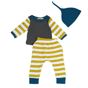Striped 3 piece outfit for boy or girl Black, Gold and White