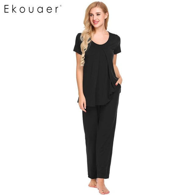Maternity Sleepwear O-Neck Elastic Waist Short Sleeve Top & Pants Multiple Colors